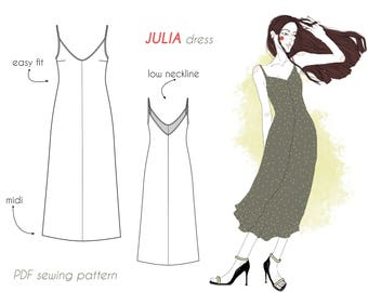 JULIA dress PDF sewing pattern. Easy fit, midi length, slip–on, bound neck and armholes, centre back and front seams, no zip, bust darts.