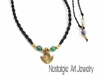 Black Macrame Necklace, Blue Agate Beads, Brass Beads, Unisex Necklace, Summer Necklace, Beach Necklace, Boyfriend Present, Brass Necklace,