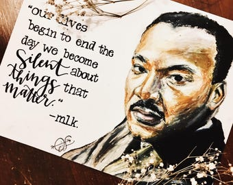 martin luther king jr. oil pastel and hand-lettered print