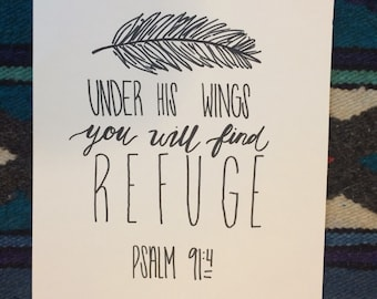 psalm 91:4 hand-lettered print