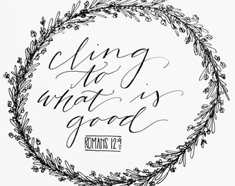 romans 12:9 hand-lettered print