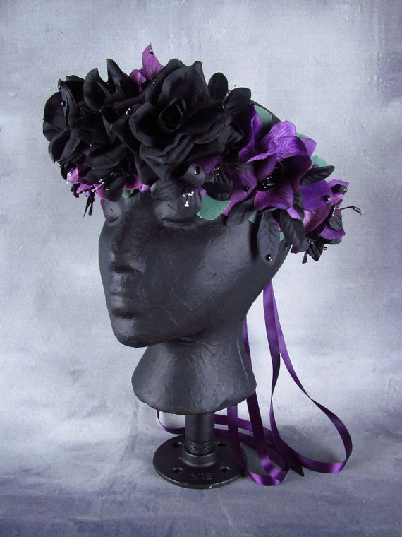 Purple and Black Flower Crown Ready to Ship Day of the  d506fba0494