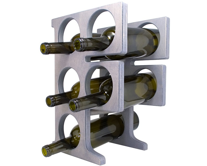 Letter F Wine Rack - Weathered Gray - Left