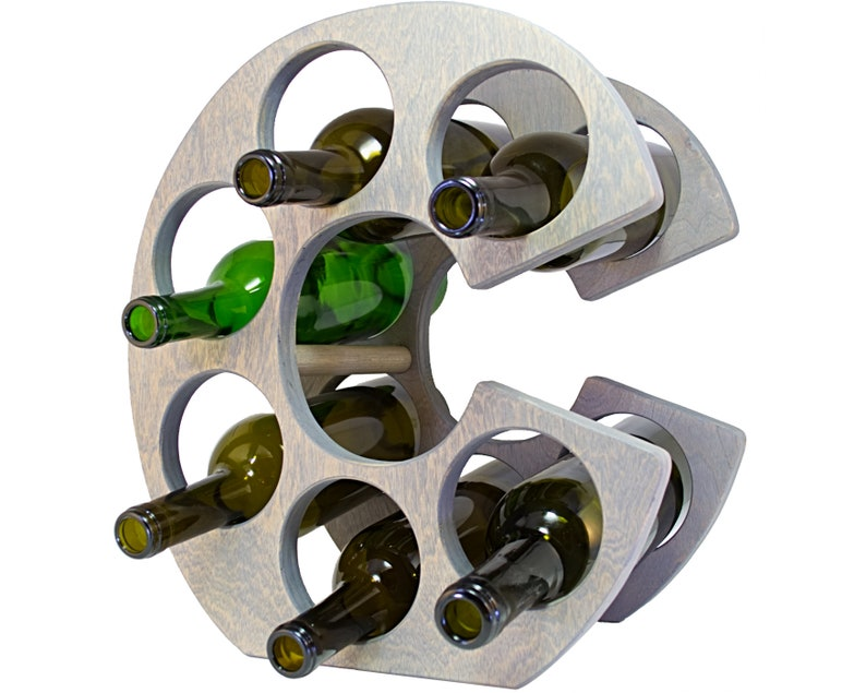 Letter C Wine Rack - Weathered Gray - Left