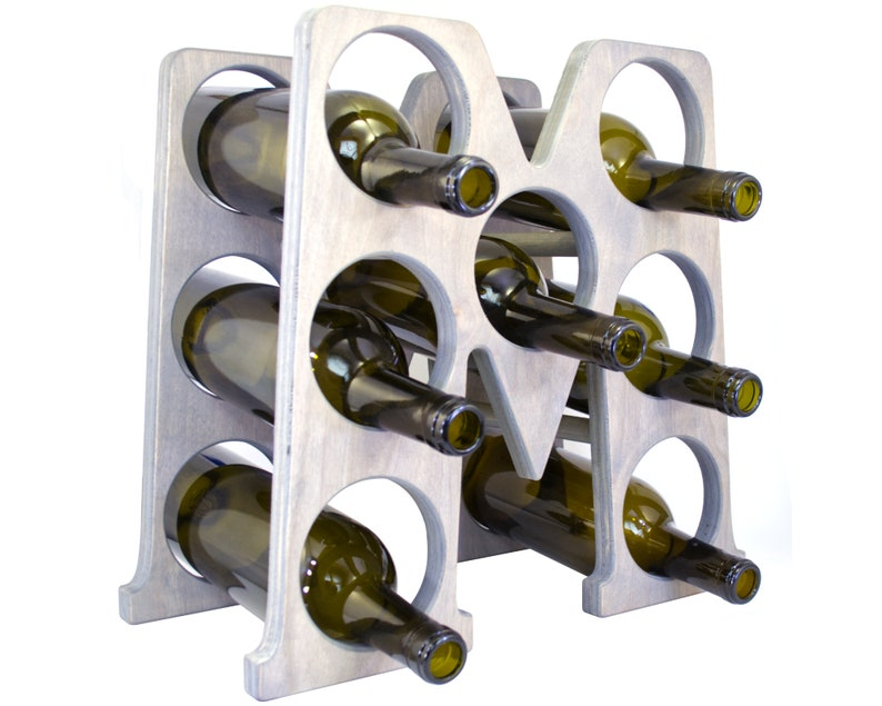 Letter M Wine Rack Gray - Right
