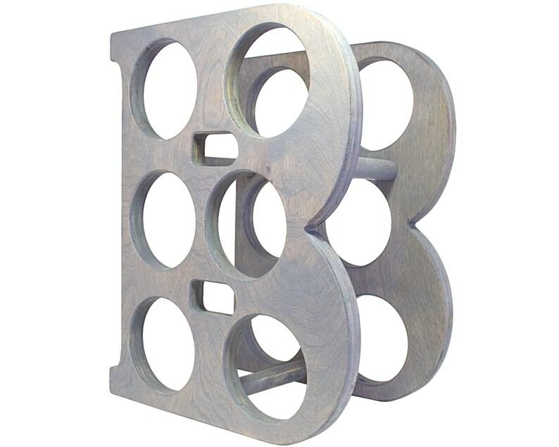 Letter B Wine Rack - Weathered Gray - Left