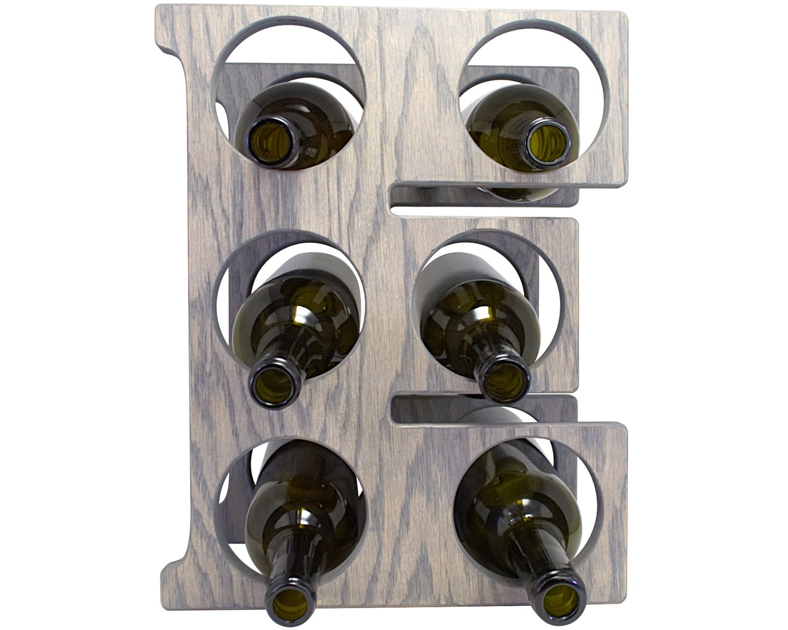Letter E Wine Rack - Weathered Gray - Front