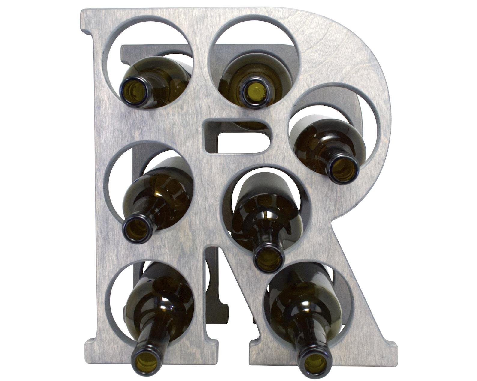 Letter R Wine Rack Gray - Front