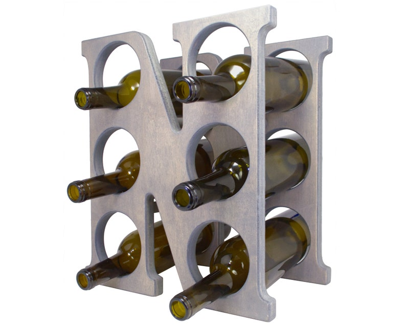 Letter N Wine Rack Gray - Left