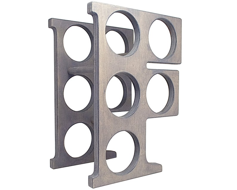 Letter F Wine Rack - Weathered Gray - Right
