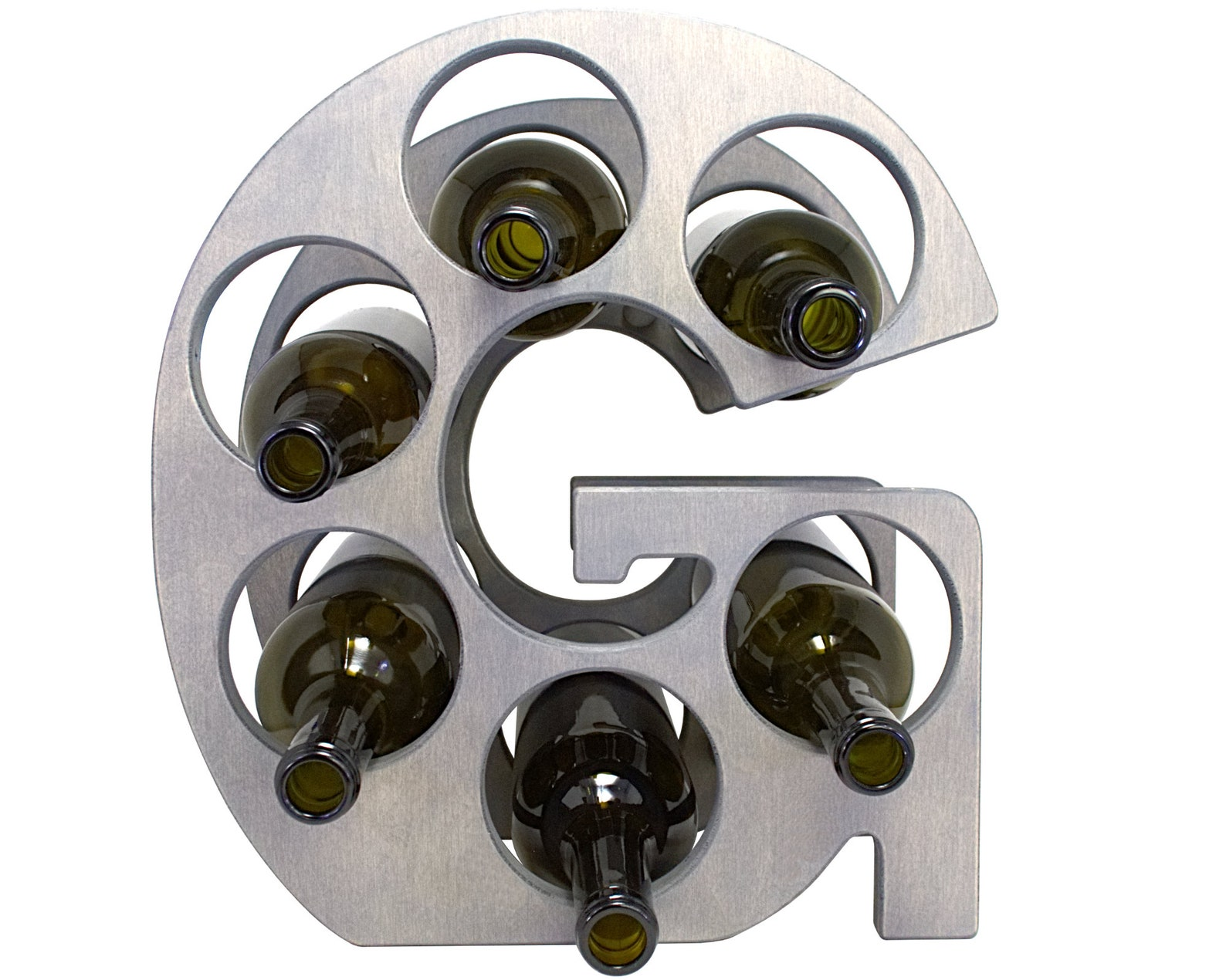 Letter G Wine Rack - Weathered Gray - Front