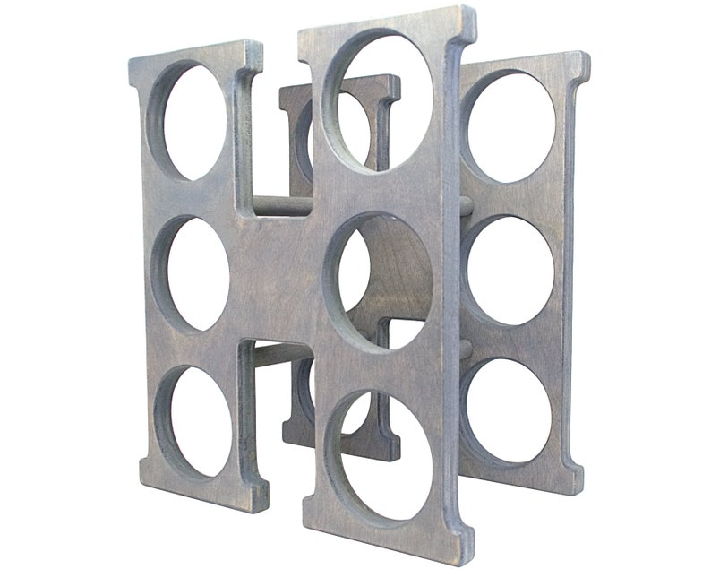 Letter H Wine Rack - Weathered Gray - Left