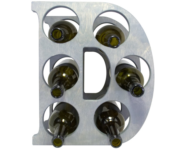 Letter D Wine Rack - Weathered Gray - Front