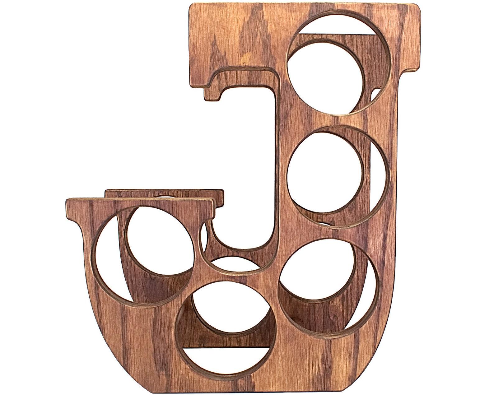 Letter J Wine Rack Front