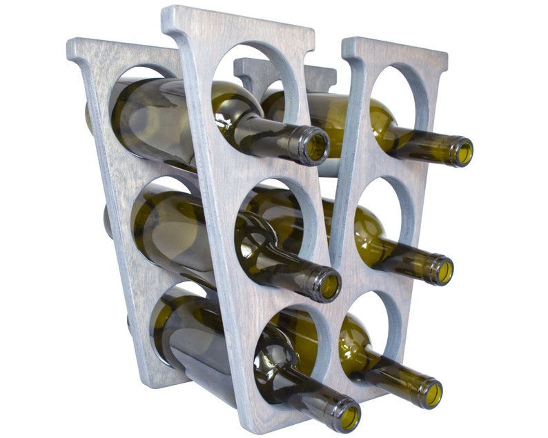Letter V Wine Rack Weathered Gray - Right