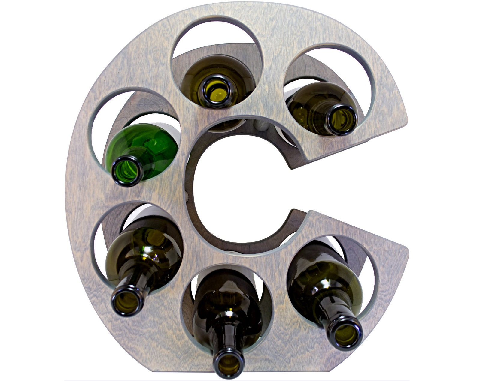 Letter C Wine Rack - Weathered Gray - Front
