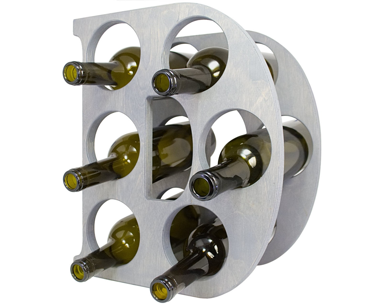 Letter D Wine Rack - Weathered Gray - Left