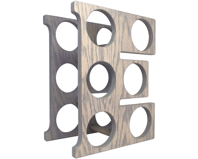 Letter E Wine Rack - Weathered Gray - Right