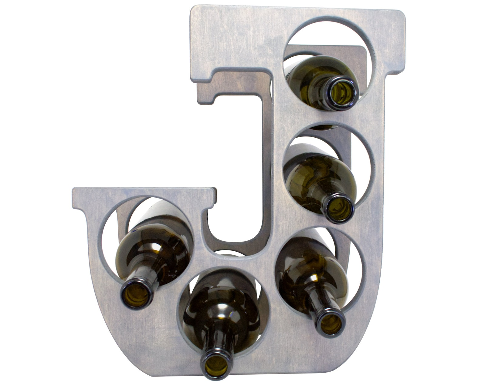 Letter J Wine Rack Gray - Front