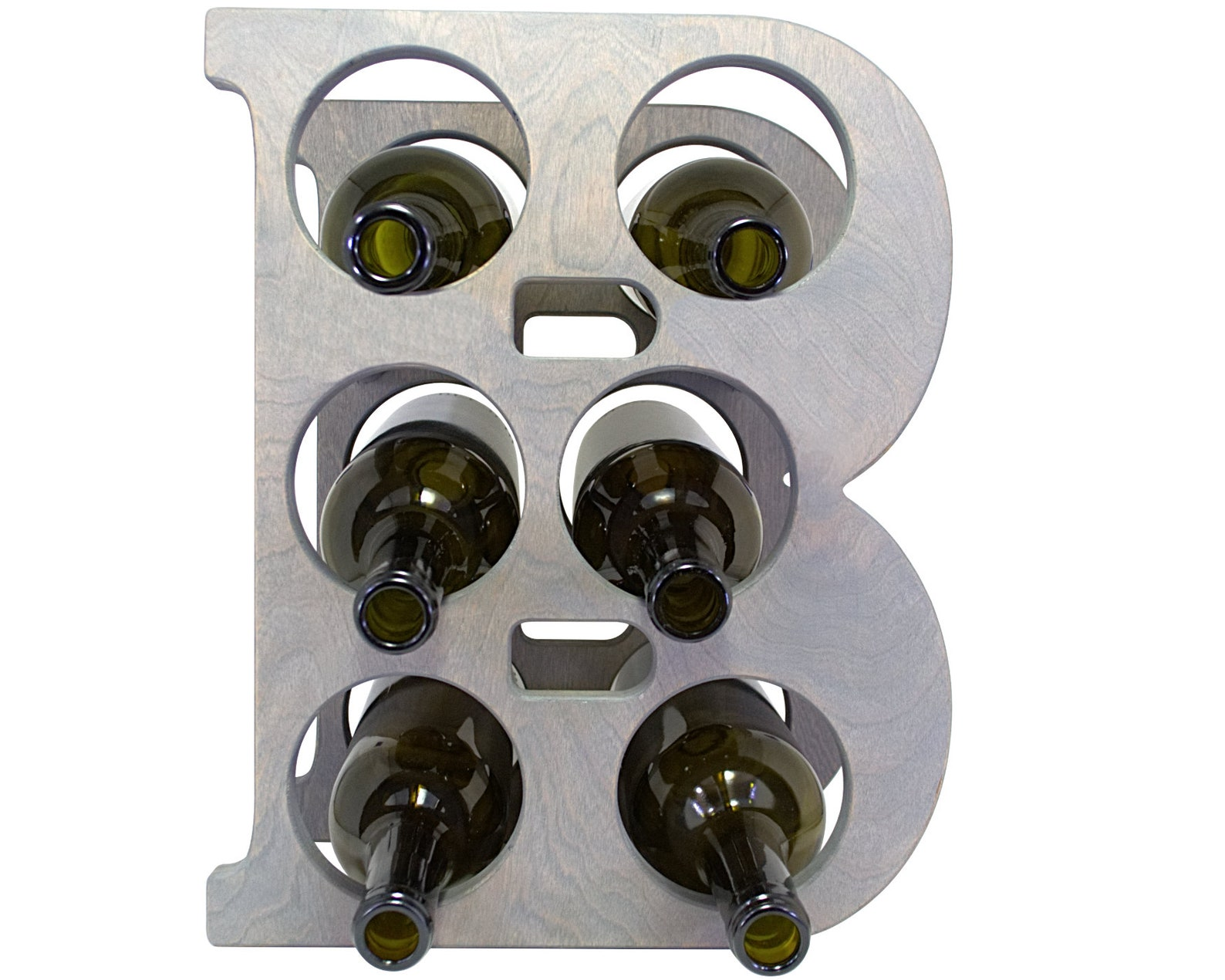 Letter B Wine Rack - Weathered Gray - Front