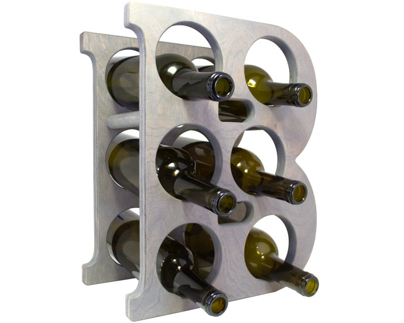 Letter B Wine Rack - Weathered Gray - Right