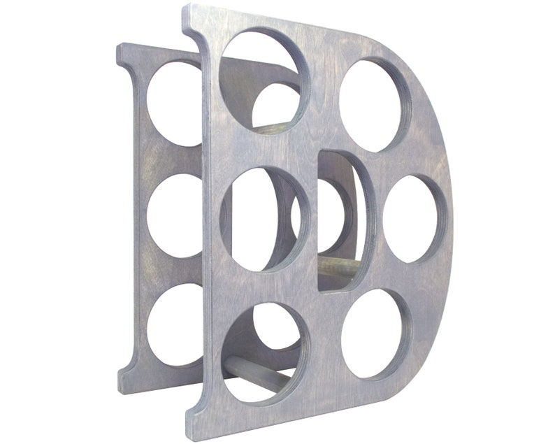 Letter D Wine Rack - Weathered Gray - Right