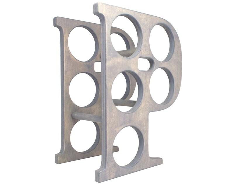 Letter P Wine Rack Gray - Right