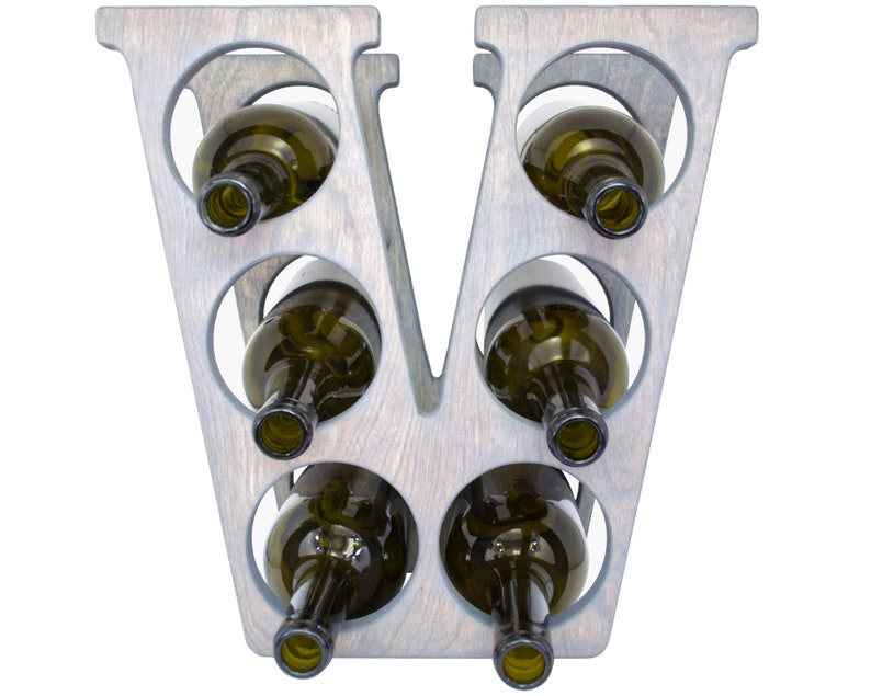 Letter V Wine Rack Weathered Gray - Front