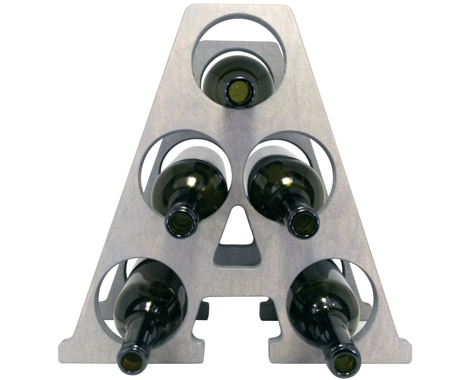 Letter A Wine Rack - Weathered Gray - Front