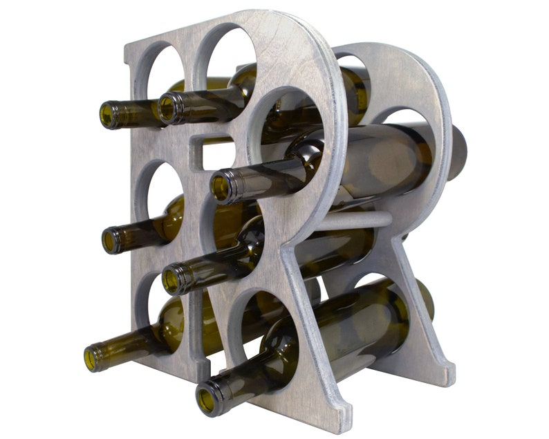 Letter R Wine Rack Gray - Left