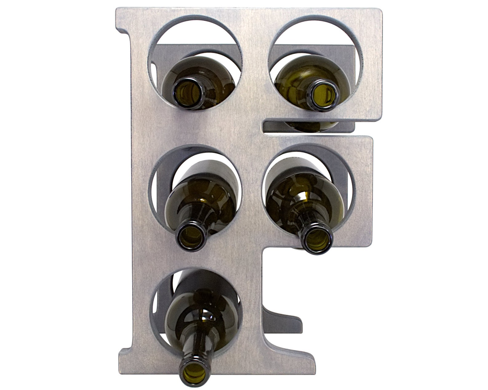 Letter F Wine Rack - Weathered Gray - Front