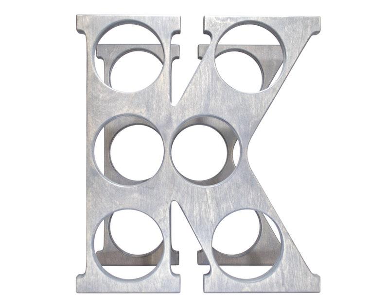 Letter K Wine Rack Gray Front
