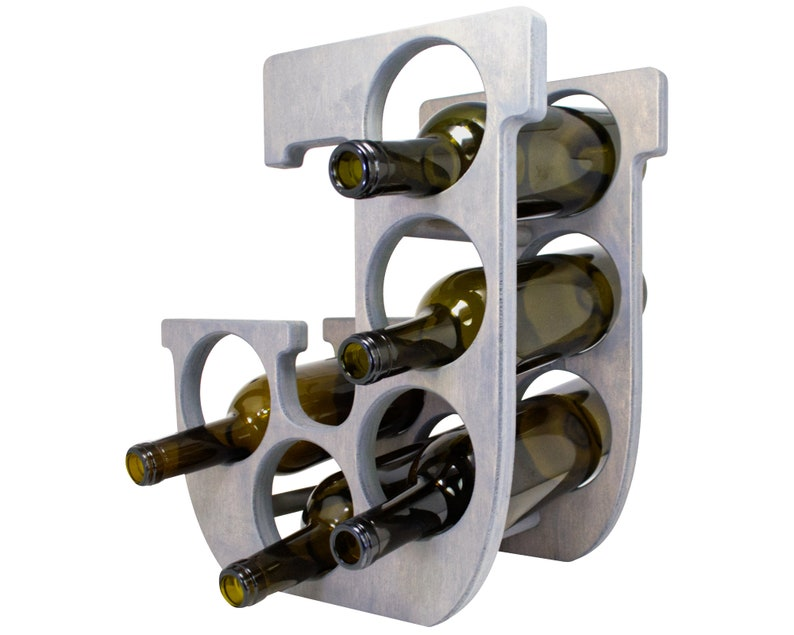 Letter J Wine Rack Gray - Left