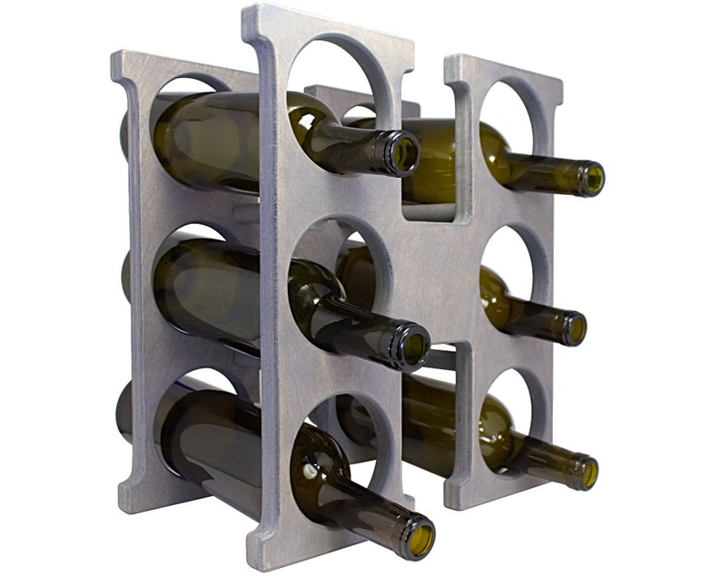 Letter H Wine Rack - Weathered Gray - Right