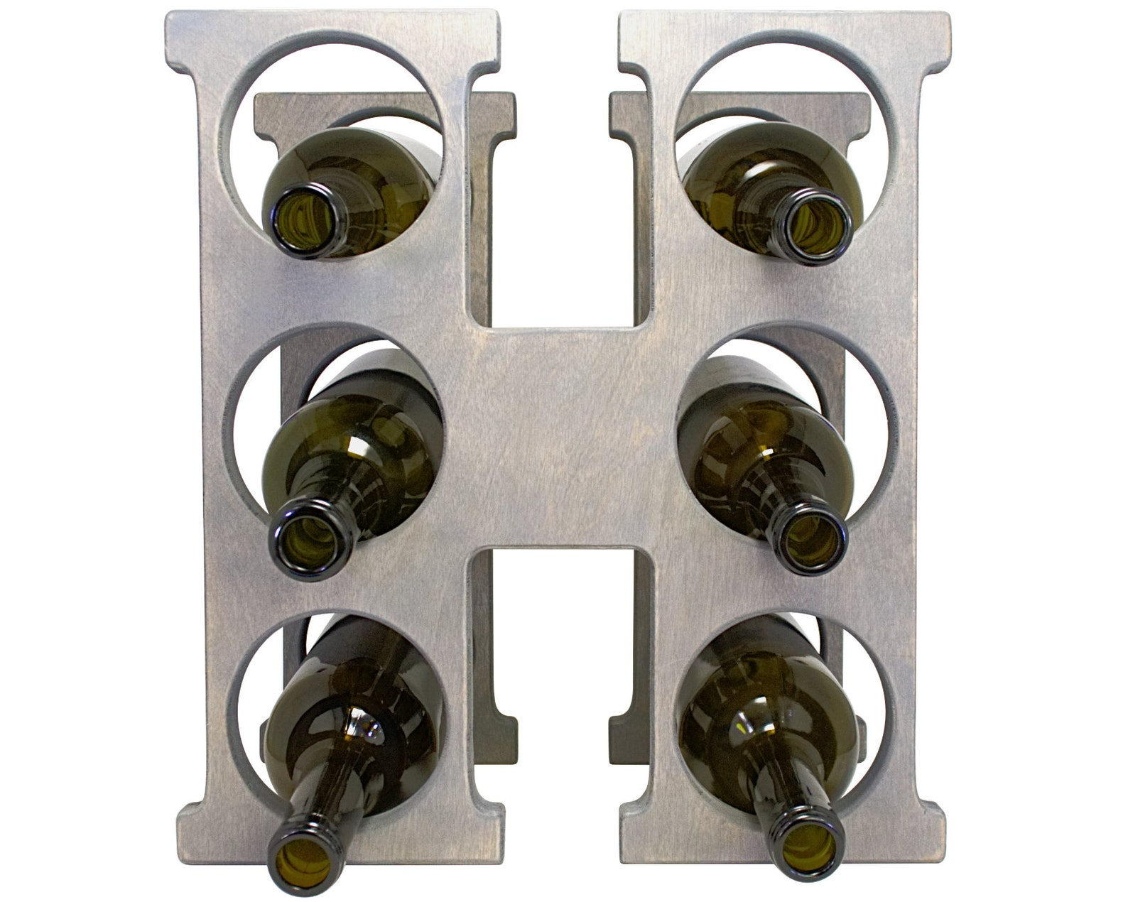 Letter H Wine Rack - Weathered Gray - Front