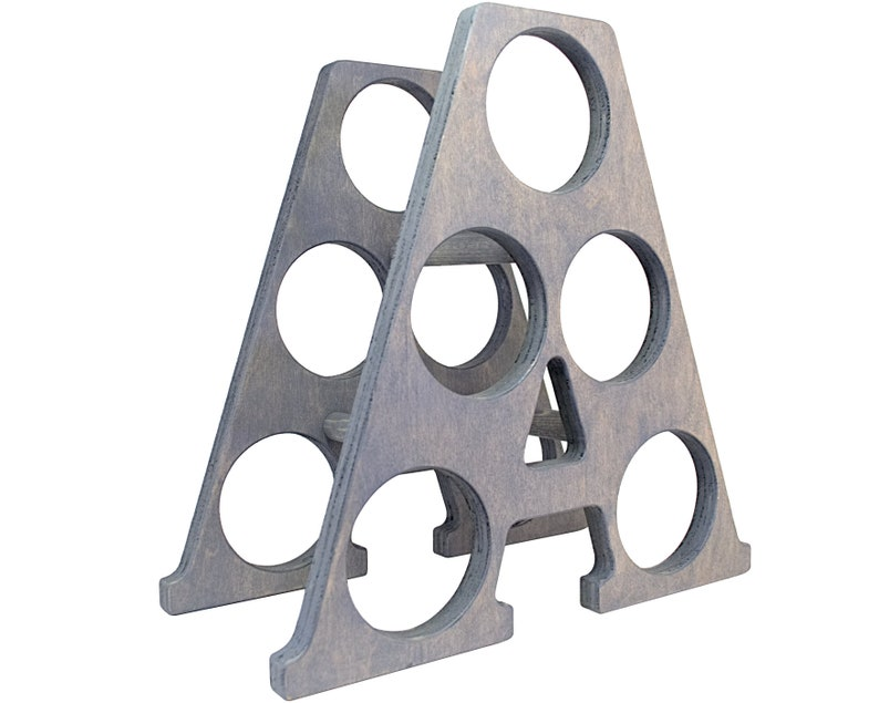 Letter A Wine Rack - Weathered Gray - Right