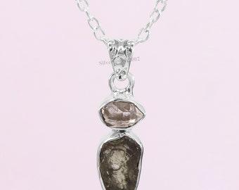necklace Moldavite on leather strap  cotton cord