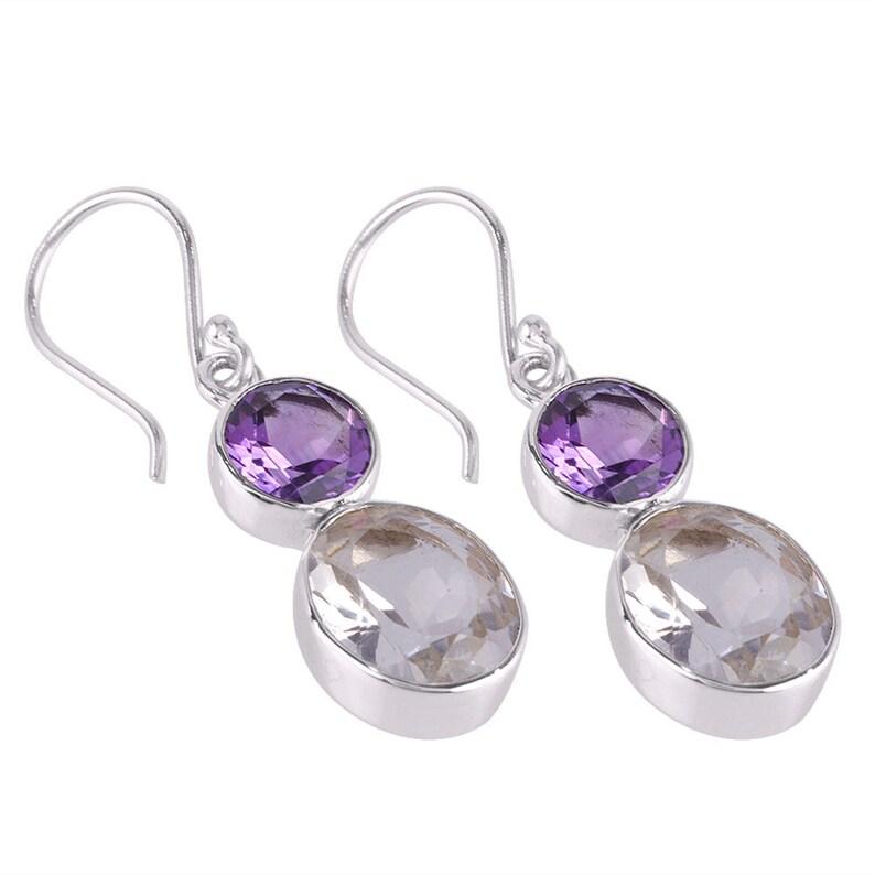 Crystal Earring,Birthstone Silver Earring Purple Amethyst Silver Earring Real Amethyst And Crystal Gemstone Sterling Silver Dangle Earring