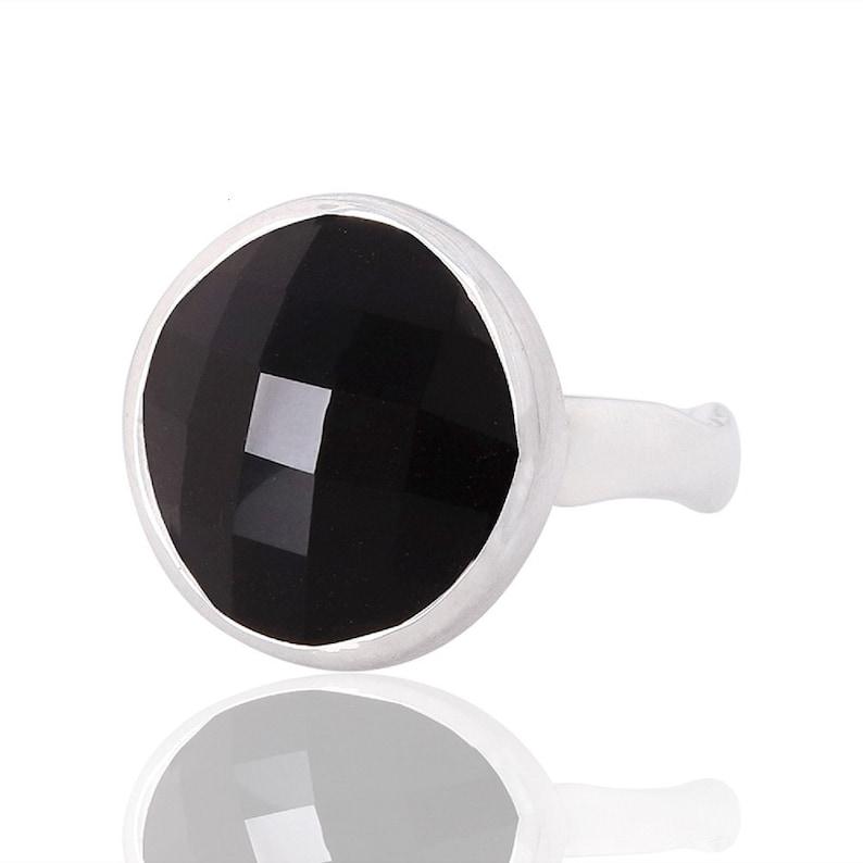 Black Onyx Gemstone Ring Solitaire Rings 925 Sterling Silver Solitaire Rings Natural Onyx Rings July Birthstone Silver Rings Jewelry