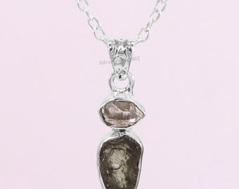 Moldavite Necklace-Herkimer Pendant-Metaphysical Reiki Amulet Synergy Crystal Pendant-16+3 Inch Adjustable Silver Chain