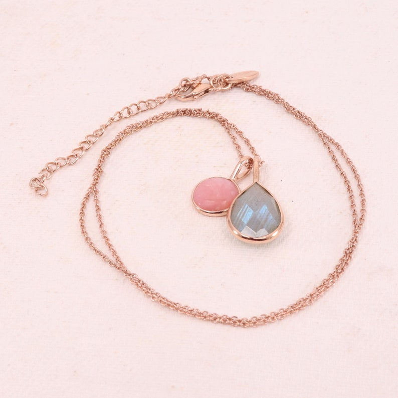 Pink Opal Necklace-Labradorite Necklace-Handmade Sterling Silver Necklace-Rose Gold Necklace-19 inch Adjustable Chain Necklace-Mothers Day