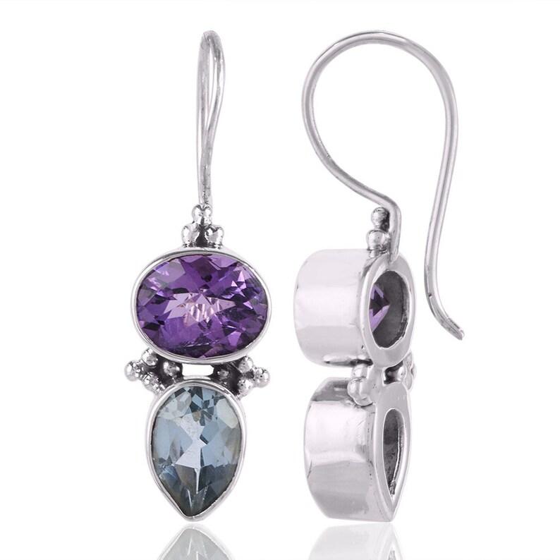 Purple Amethyst EarringBlue Topaz EarringSterling Silver Jewelry EarringBirthstone Jewelry EarringPerfect Gift For Women