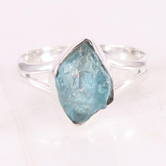 Sterling silver raw stone aquamarine /'sea anemone/' ring.