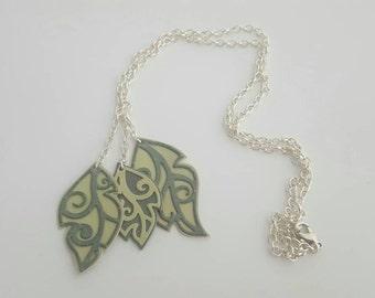 Handmade leather leaf trio hanging pendant necklace