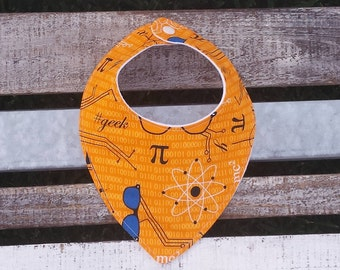 Orange geek pride dribble and drool bib for babies and toddlers