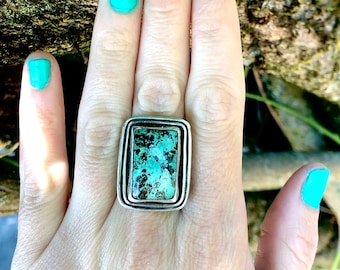 Rectangle Green Turquoise Ring