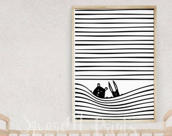 Nursery Wall Art, Scandinavian Kids Room Decor, 16x20 Prints, Cute Creatures, Unique Baby Gift, Black and White Animal Print, Stripes Poster