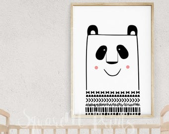 Aztec Nursery Decor, Panda Art, Panda Bear Decor, Kids Nordic Poster, Nursery Illustrations, Panda Birthday Gift, Digital Art Download