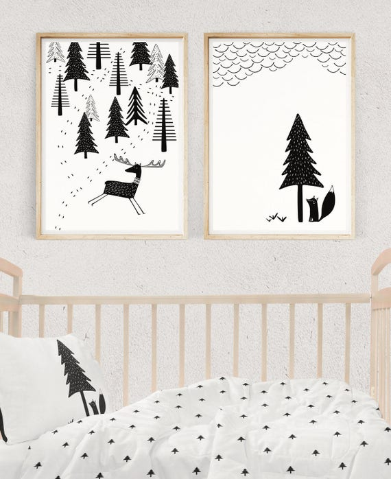 Scandinavian Baby Nursery: SCANDINAVIAN NURSERY SET Black And White Prints Nursery