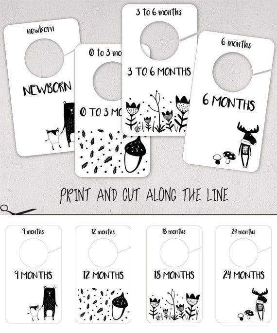 Printable Baby Closet Dividers Part - 14: Woodland Baby Nursery Closet Dividers Neutral Baby Clothes | Etsy